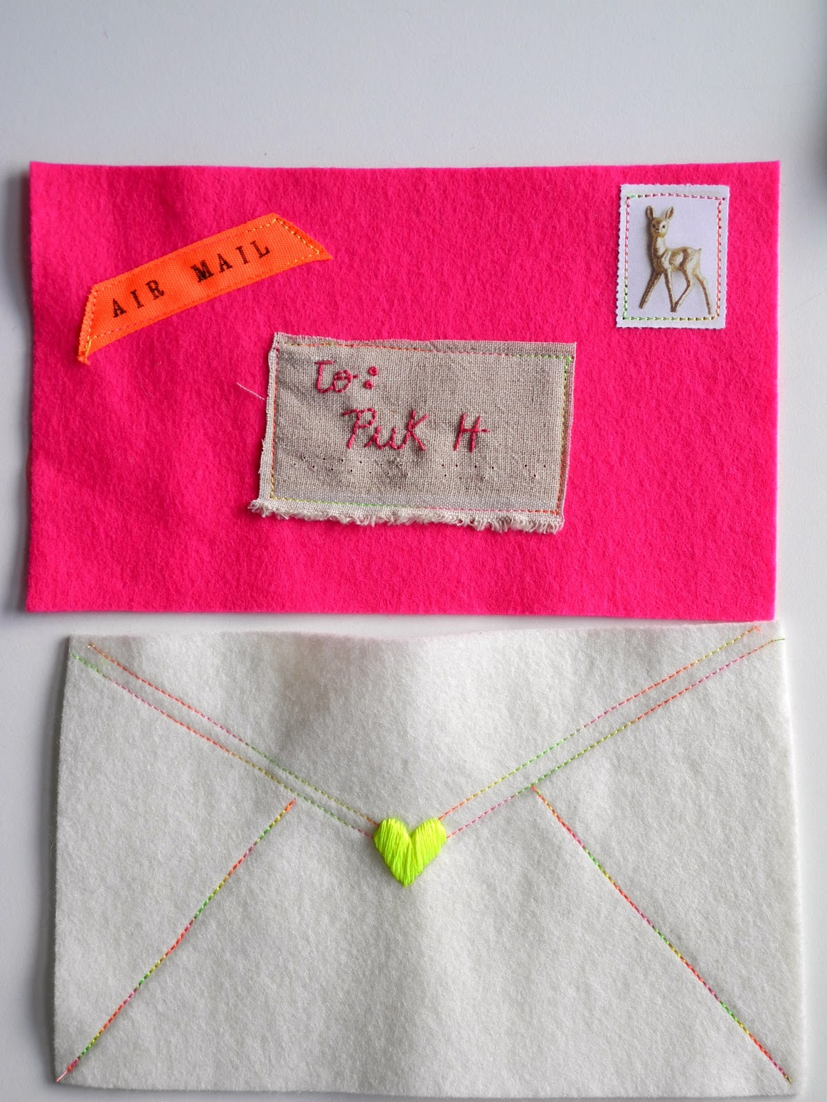 One bunting away felt envelopes Which side does a stamp go on
