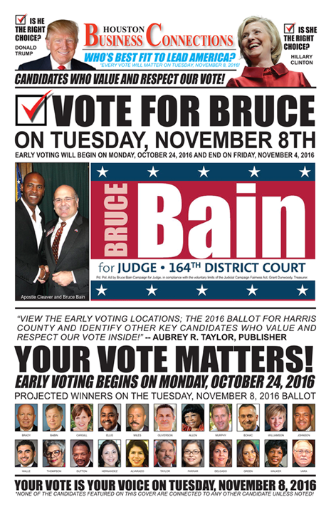 BRUCE BAIN VALUES OUR VOTE, SUPPORT AND COMMUNITY!