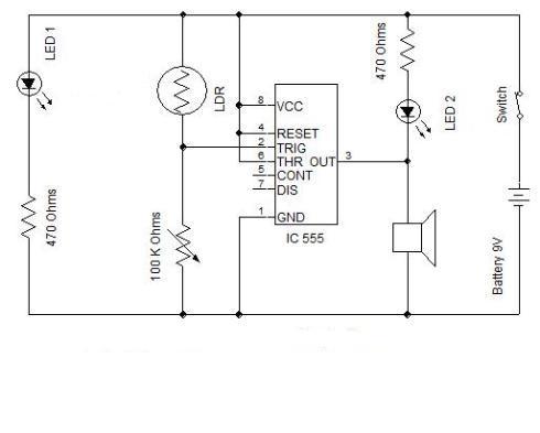 burgular alarm using ic555