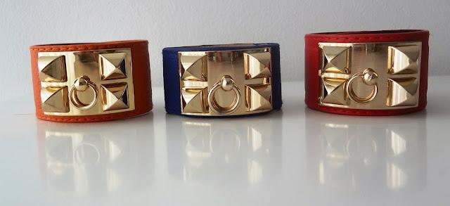 Gold Pyramid Stud Faux Leather Cuff Bracelets