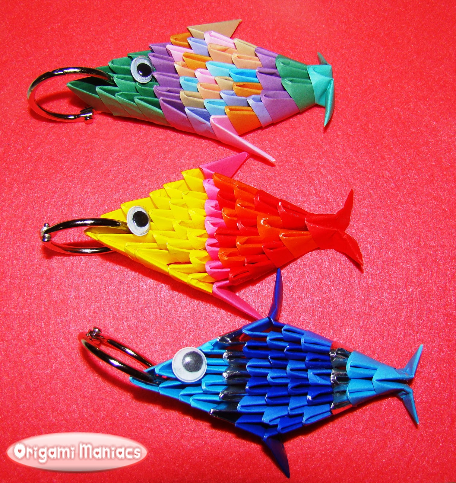 Origami maniacs 3d origami keyholder fish for How to make fish