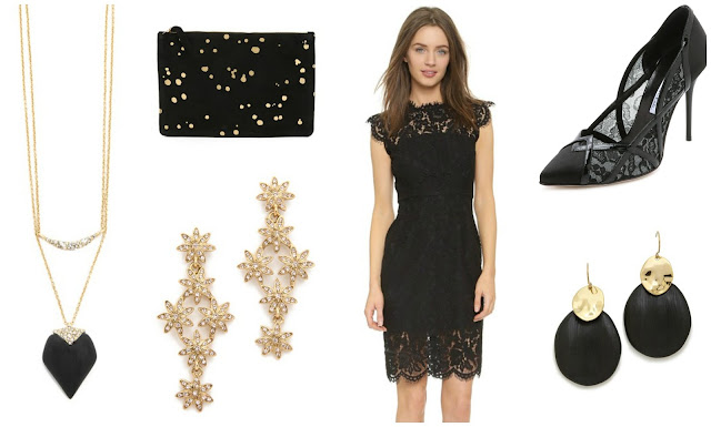 NYE party look inspiration with black lace dress & gold || Funky Jungle - mindful fashion & quirky personal style
