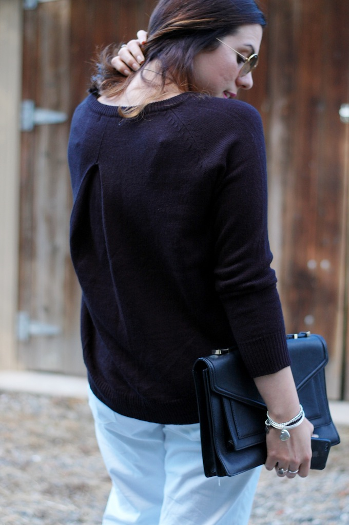 BB Dakota sweater, Gap sexy boyfriend jeans and a Loeffler Randall Rider bag
