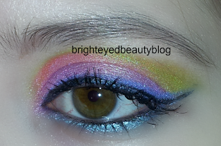 A very, very bright eye look done using the Lime Crime Aquataenia Palette.
