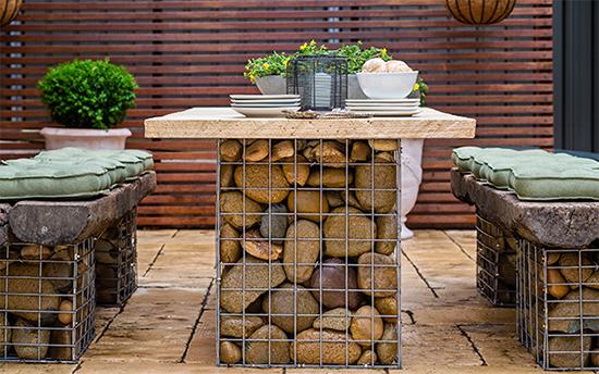 desain set furnitur dengan gabion bronjong