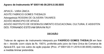 Apiacá | Agravo de instrumento no TJ-ES suspende concurso público da prefeitura