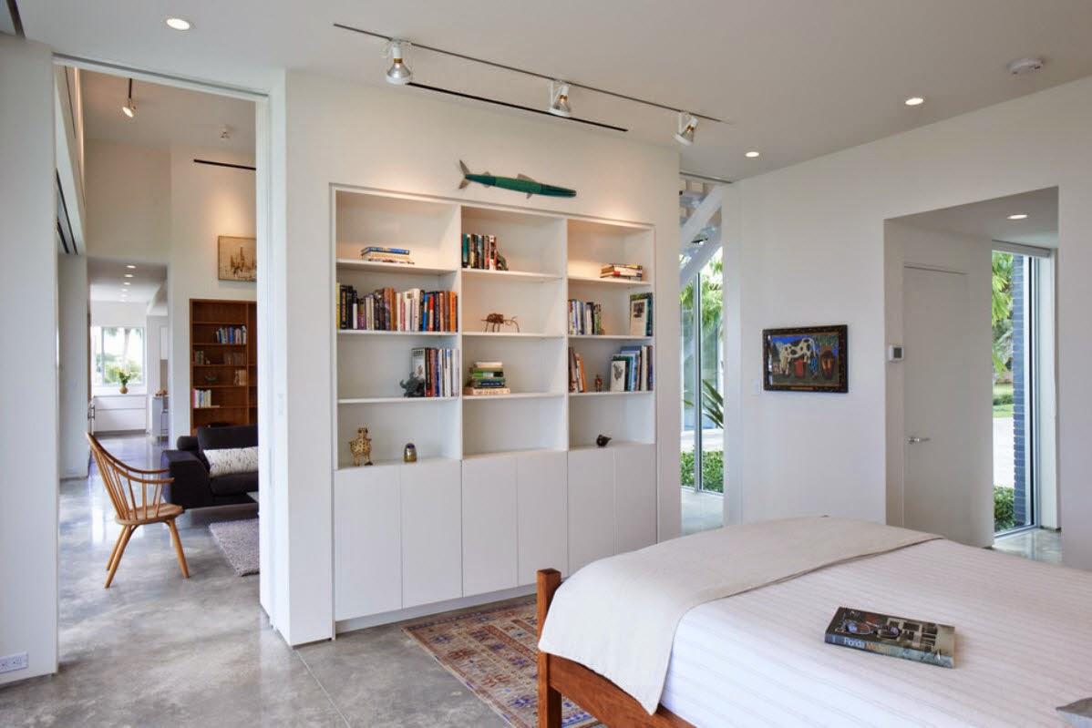 Ruang Tidur Minimalis Dengan Rak Buku Di dalamnya 4