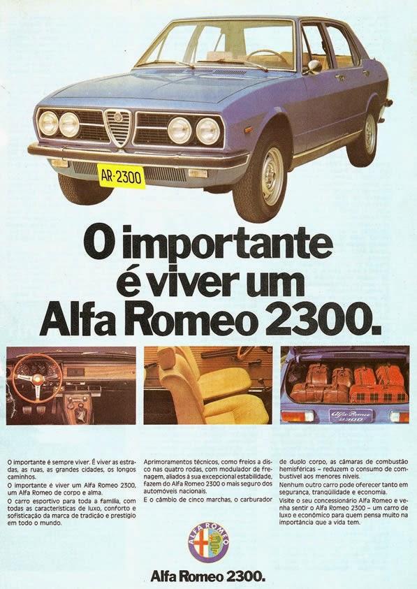 Propaganda do Alfa Romeo 2300. Inspiração italiana, fabricado no Brasil.