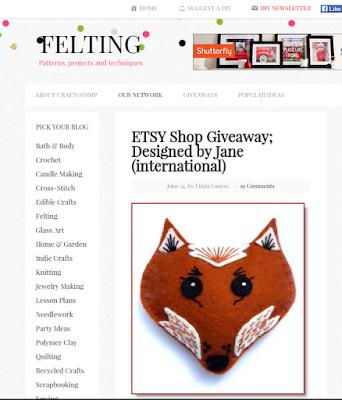 craft gossip felt blog giveaway contest for designed by Jane