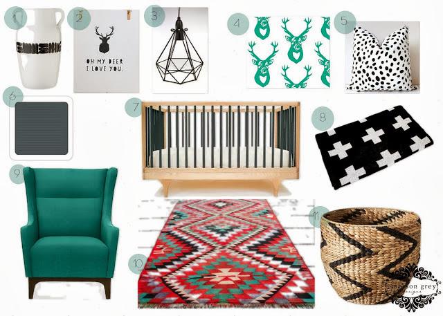 Nursery Inspiration Board: Deer, Teal, Black and White