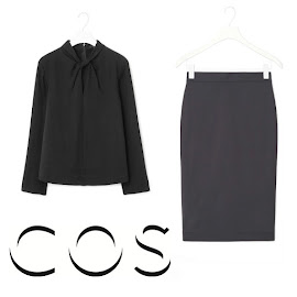 Queen Maxima Style - COS Draped Collar Top and Fitted Skirt