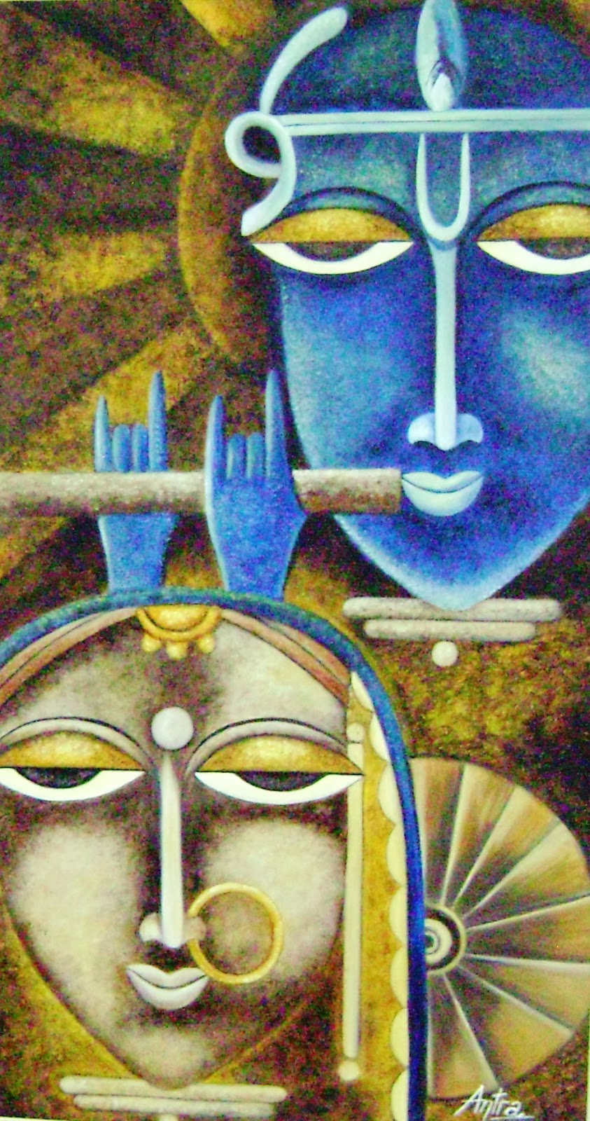 Painting of Lord Krishna with Radha