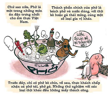 Biếm họa phở Hà Nội của Thành Phong