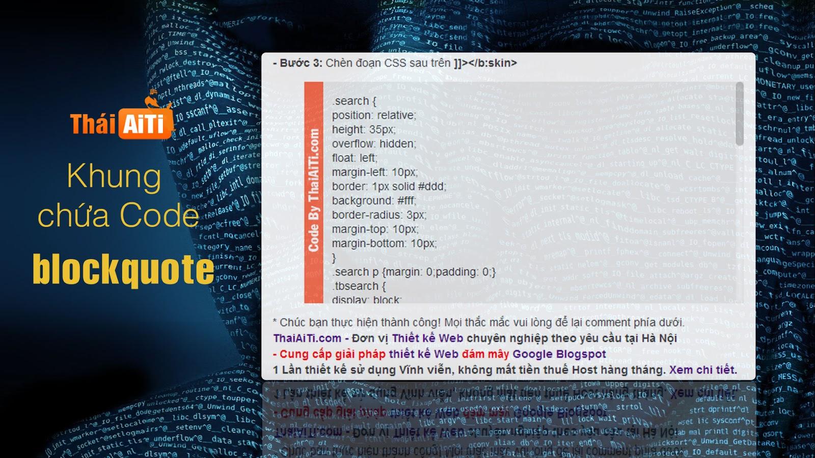 Thủ thuật CSS tạo khung chứa Code cho Blogspot