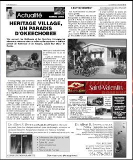 Article dans le Soleil de la Floride sur le parc Heritage Village