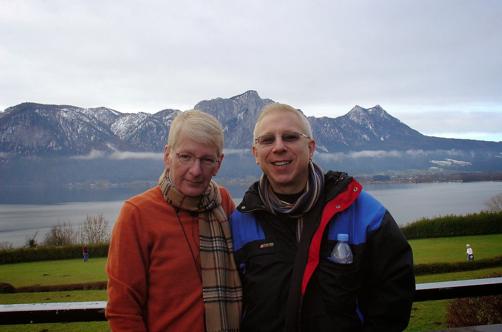 Matthew and I pause to take in the stunning Alpine scenery at the rest stop en route to Salzburg.