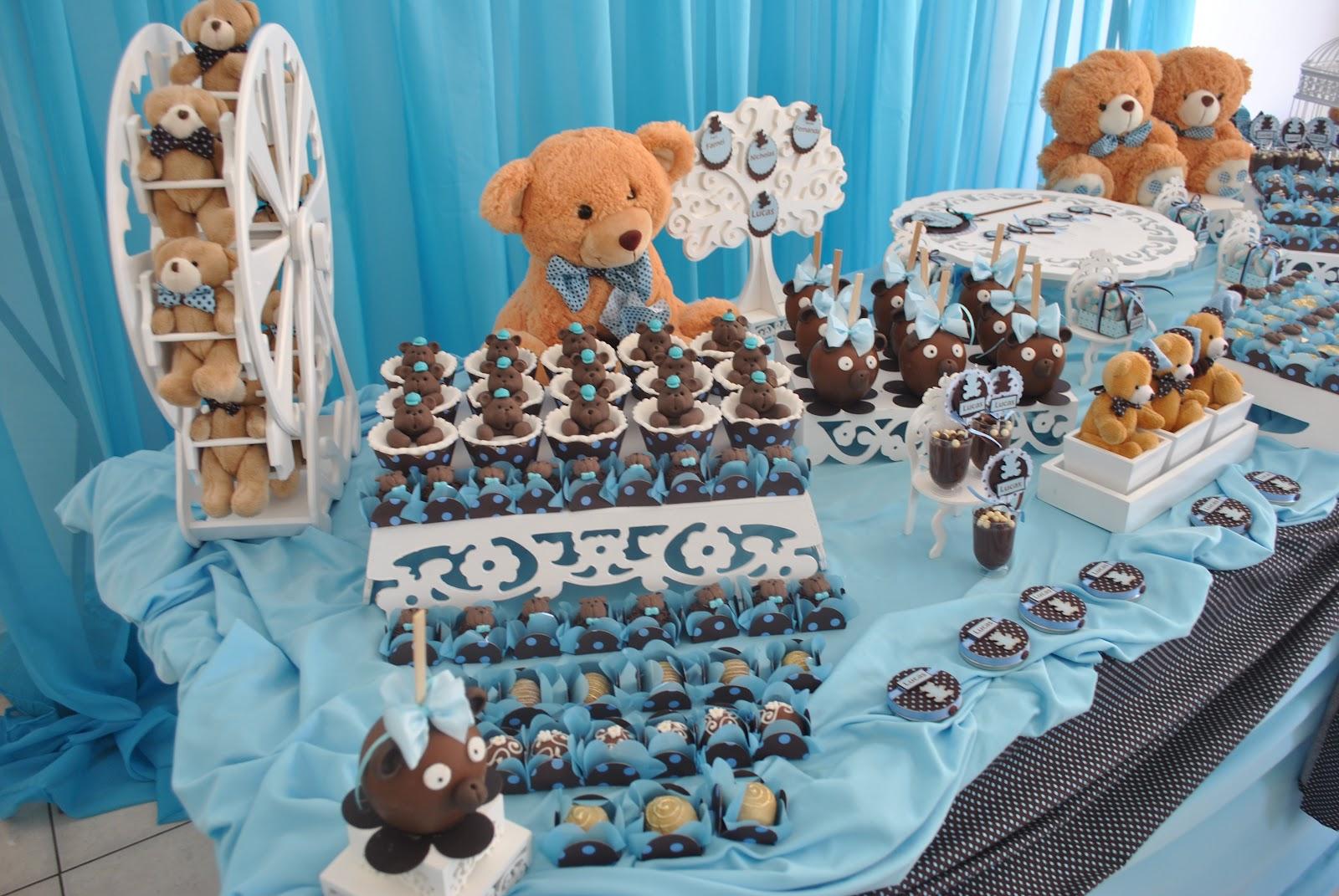 decoracao festa urso azul e marrom:La Belle Vie Eventos: Lucas na festa de Urso Azul com Poá Marrom