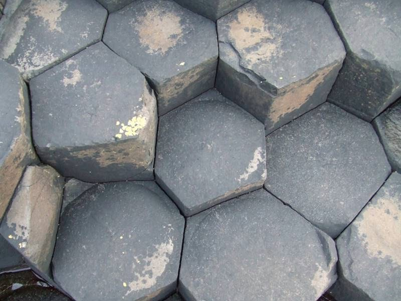 Hexagonal basalt columns formed during cooling lava