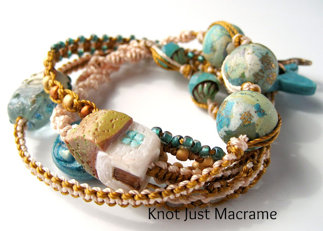 Micro Macrame wrap bracelet with artists beads