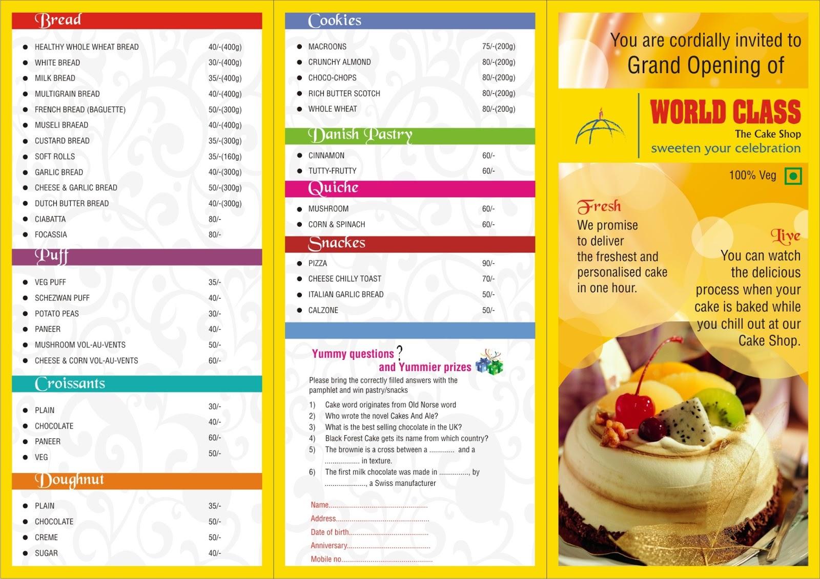 Graphic Designer Cake Menu Design