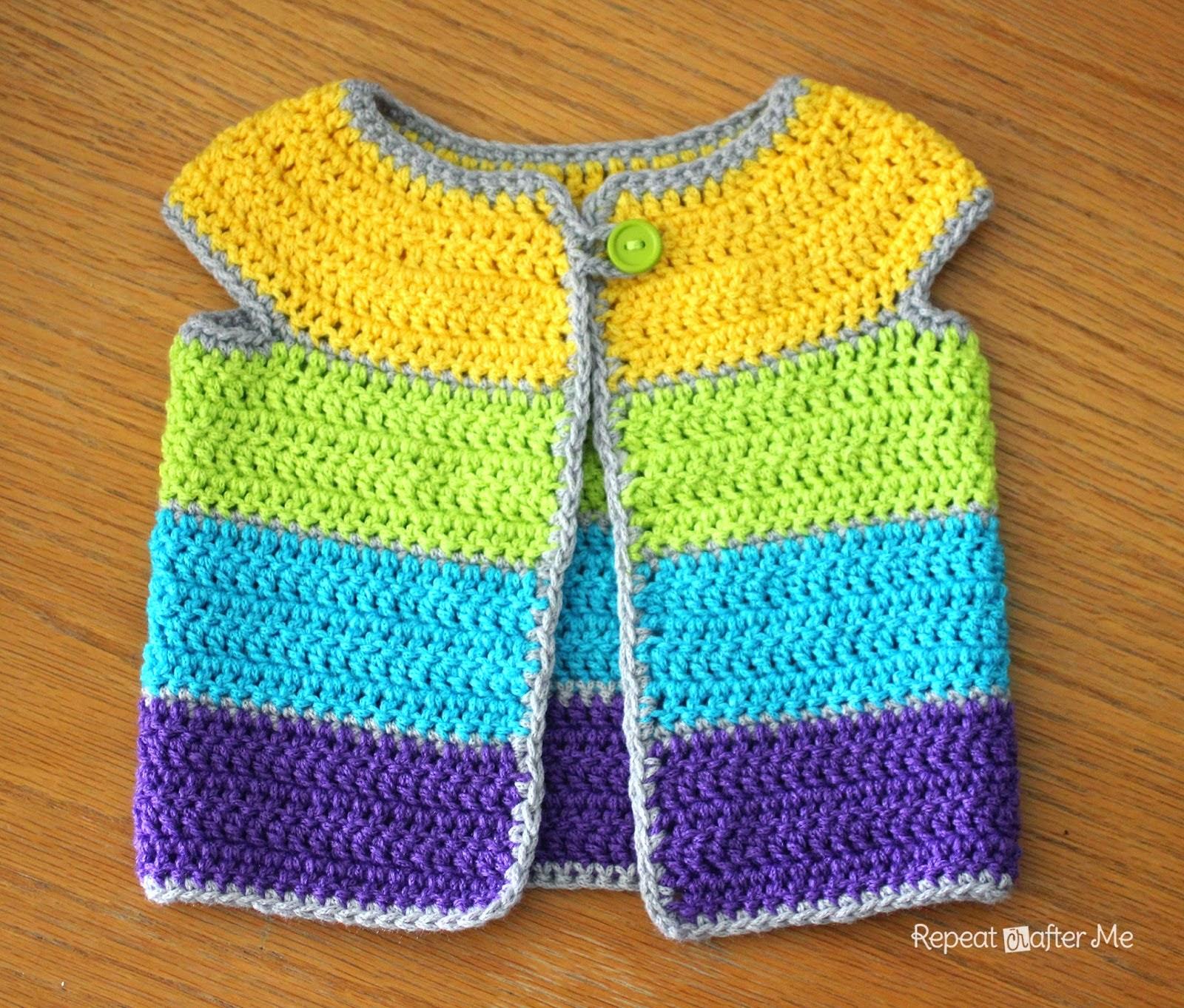 free crochet cap sleeve baby cardigan
