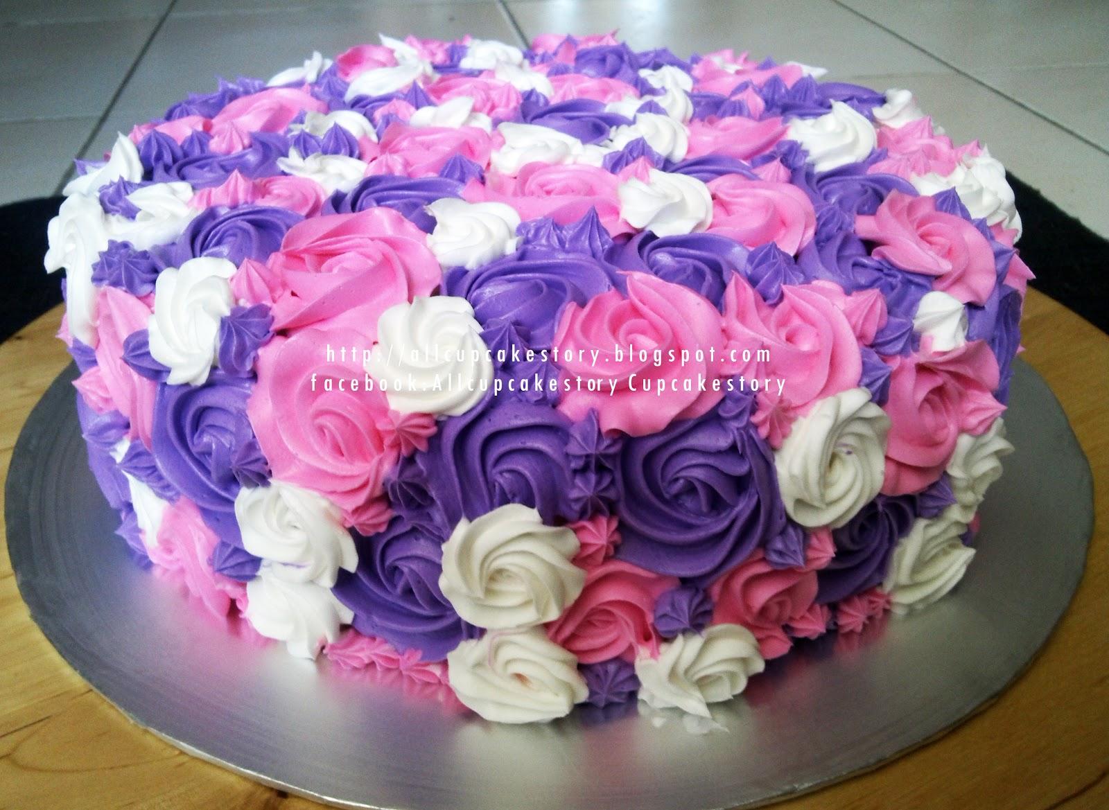 allcupcakestory: Purple & Pink Flower Cake
