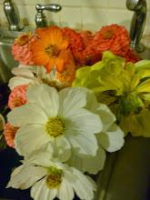 sink full of flowers