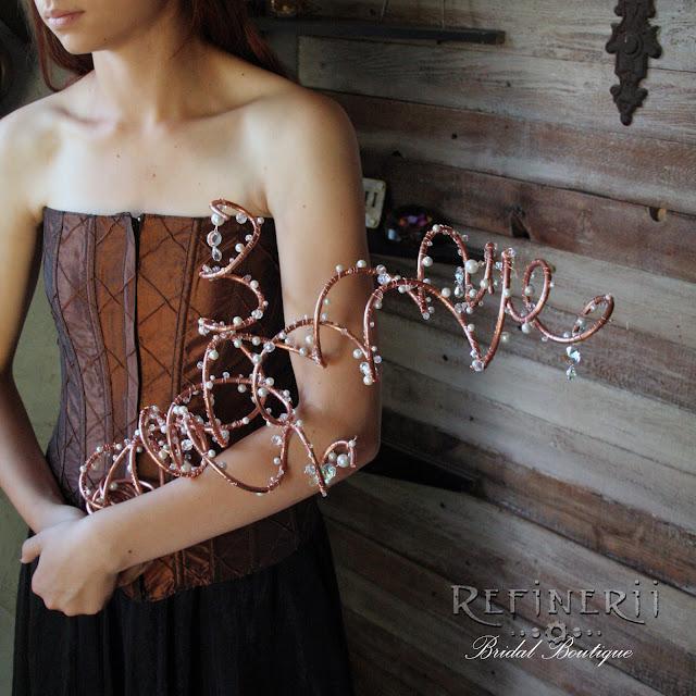 copper steampunk alternative wedding bouquet