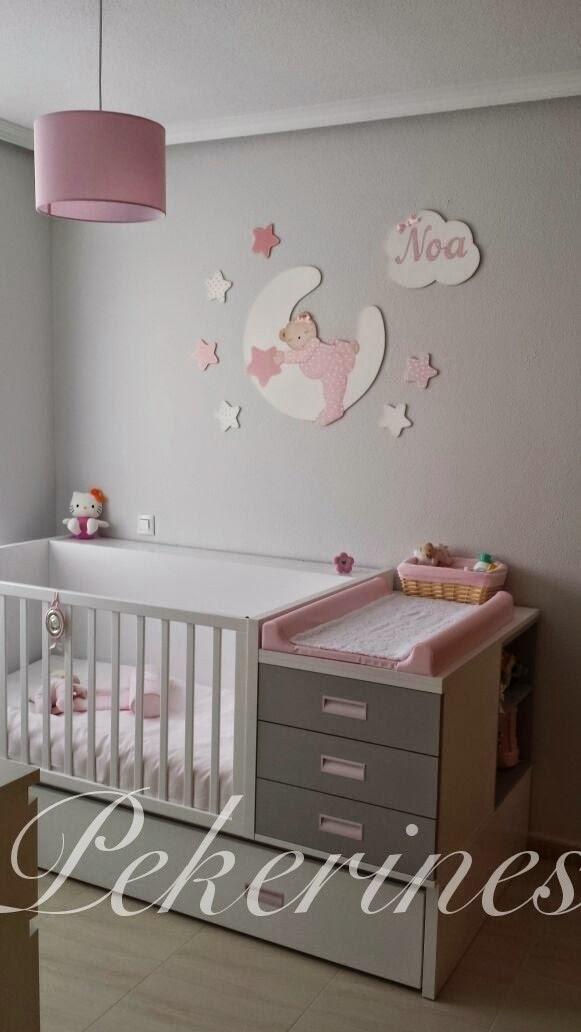 Decoraci n infantil pekerines habitaci n de noa en gris y - Habitacion gris y rosa ...