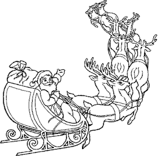 Santa Claus sleigh with Christmas gifts for children coloring page picture
