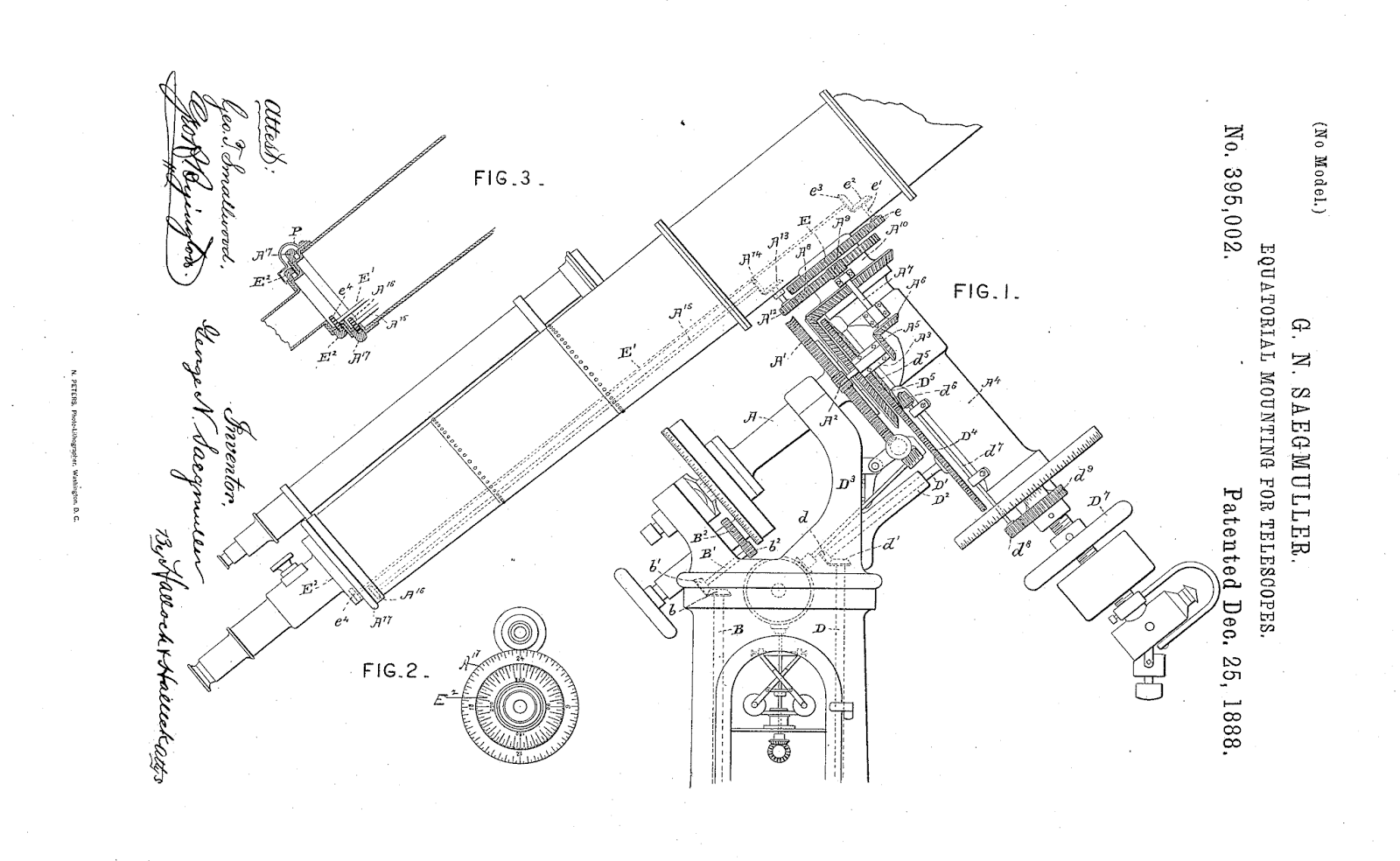 Equatorial Mounting for Telescopes from Saegmuller patent.