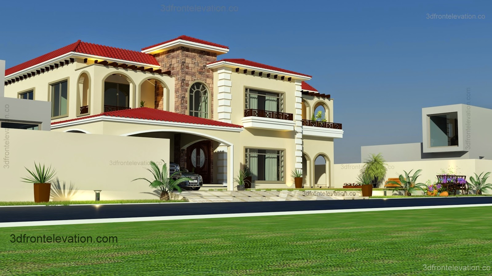 Samples Of Front Elevation Of Houses : D front elevation beautiful mediterranean house