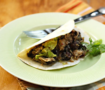 Slow Cooker Tomatillo Chicken and Black Bean Tacos from The Perfect Pantry via SlowCookerFromScratch.com