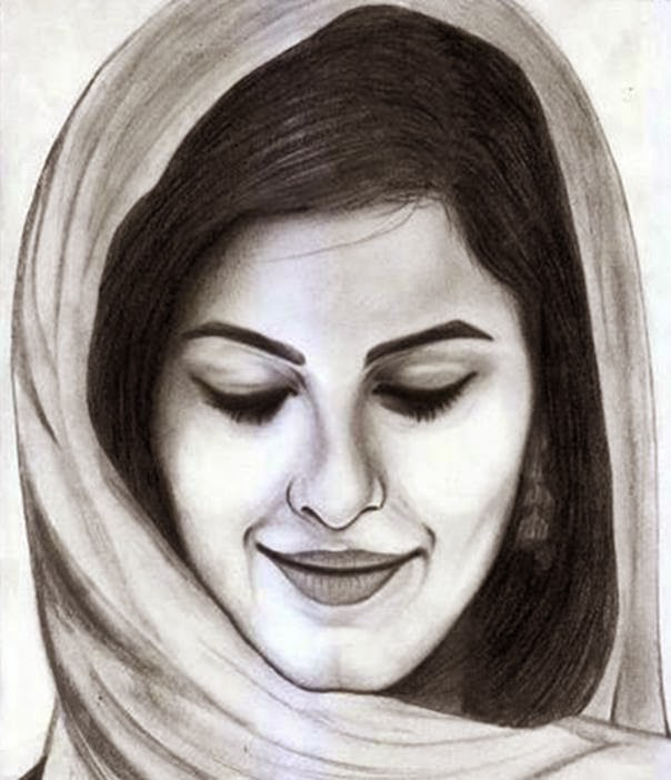 Pencil sketch of isha talwar