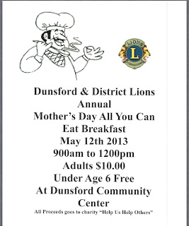 image Dunsford LIONs Mothers Day Breakfast Poster Showing Chef and LION logo