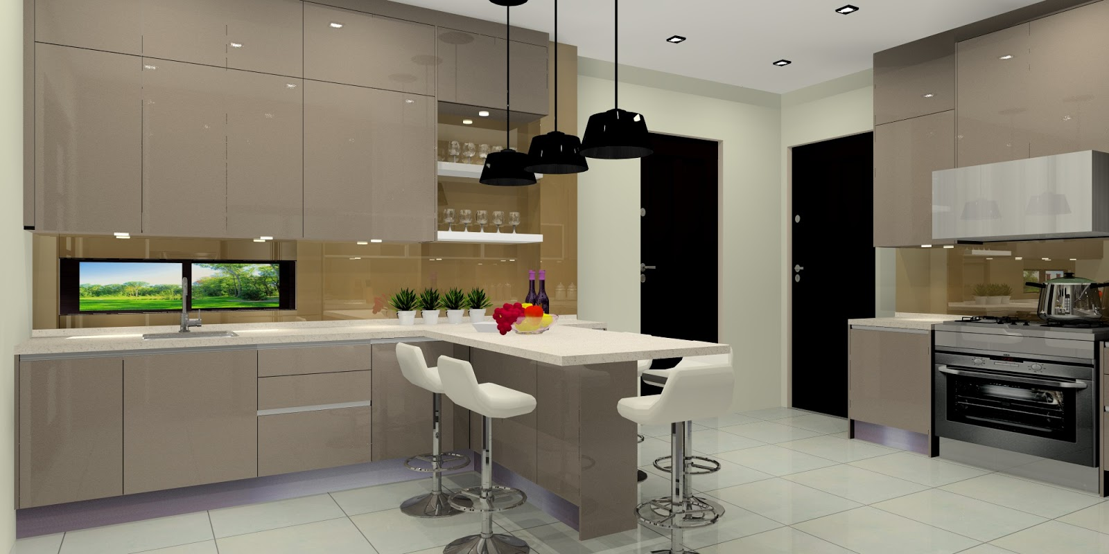 High Ceiling Kitchen Cabinets Are Made Of Acrylic   Champagne Part 62