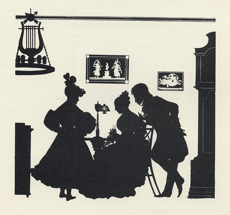 silhouette of 2 women and man around table in home