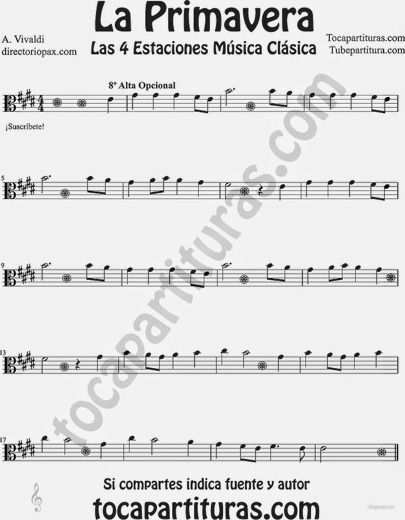 """Tubepartitura La Primavera de Antonio Vivaldi Partitura para Viola """"Las Cuatro estaciones de Vivaldi"""" en 8 alta"""