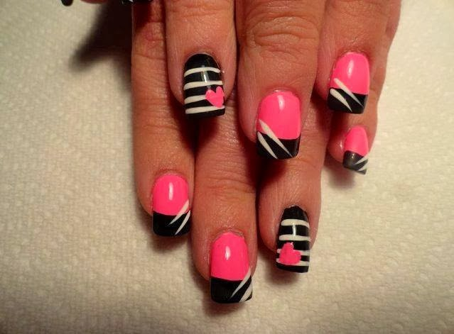 Acrylic Extensions Gel Polish Manicure Love Of Valentine Day Coral Pink,  Black U0026 White 14th