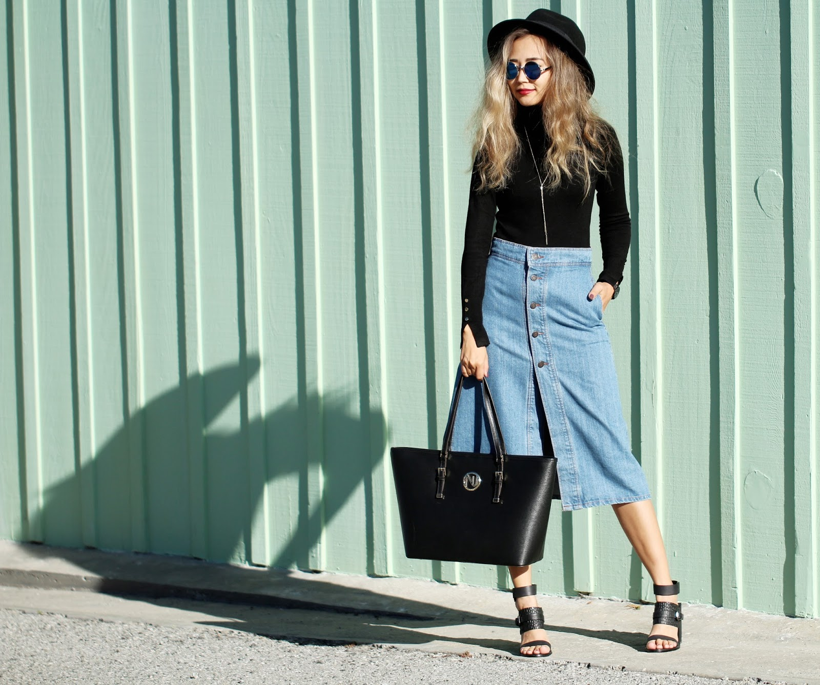 How to wear midi denim skirt - Queenhorsfall