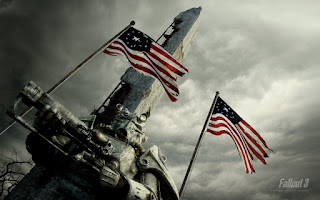 Fallout Brotherhood of Steel Waving Flags HD Wallpaper