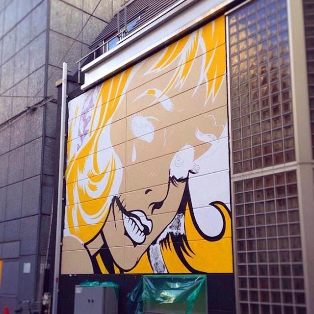 New Street Art Piece By British Stencil Artist D*Face in Shibuya, Tokyo, Japan. 3