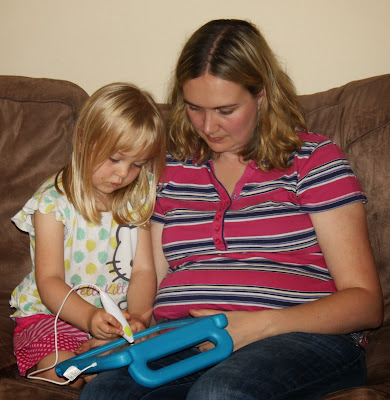 Girl using the appen on tablet