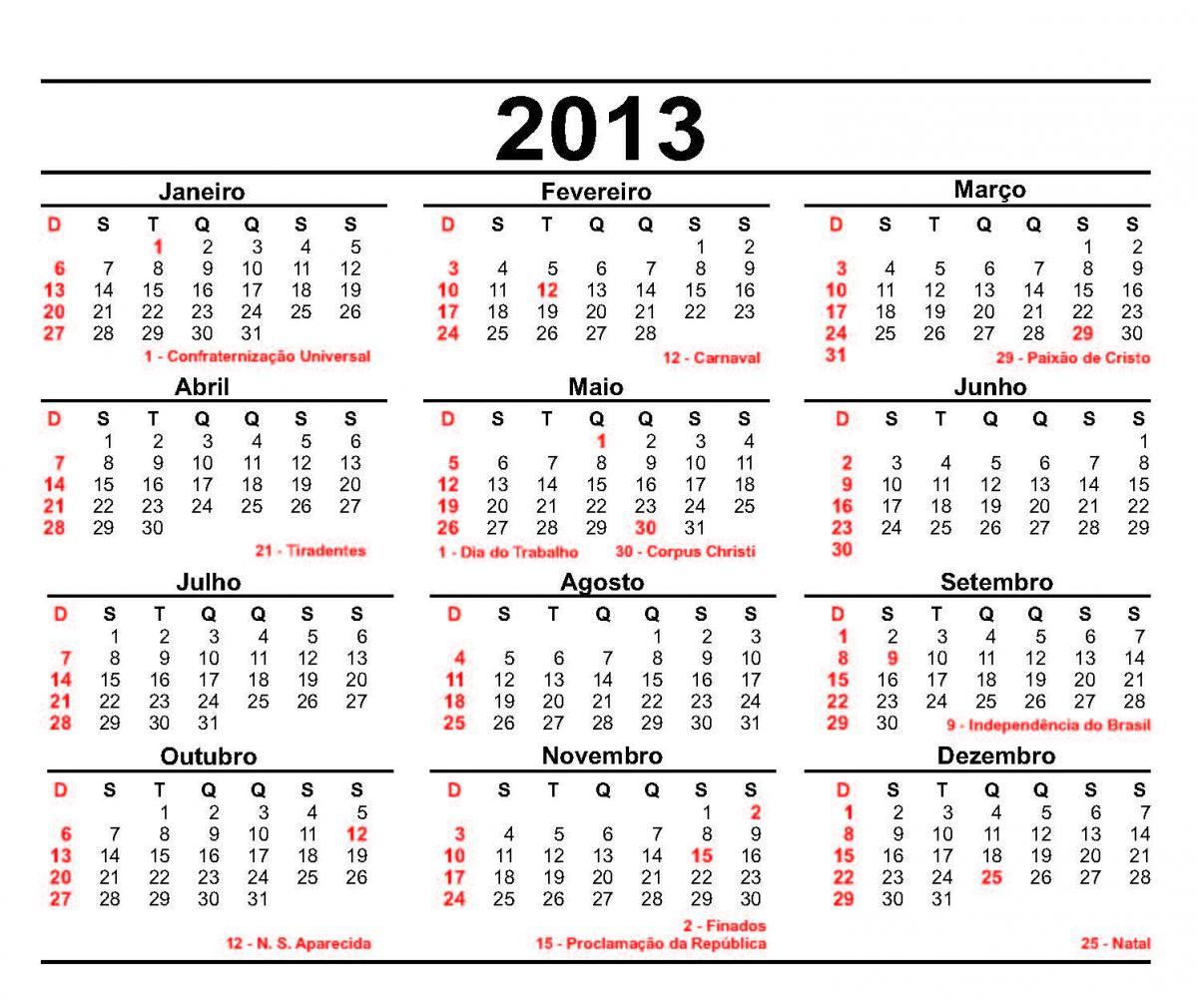 Calendário de 2013 para Imprimir - Feriados