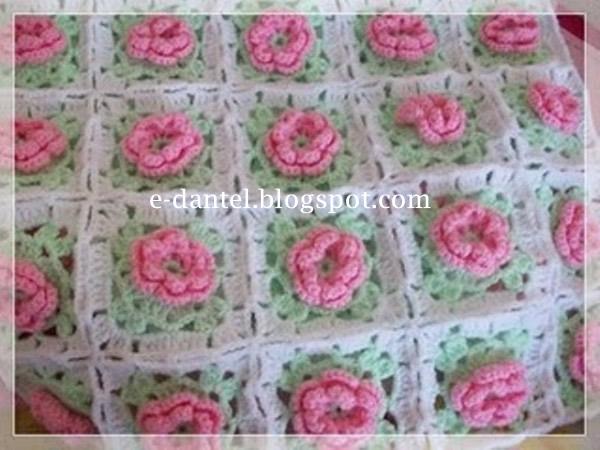 gül motifli bebek battaniyesi