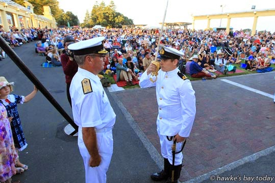 Formal Sunset ceremony, NZ Navy at the Sound Shell. photograph