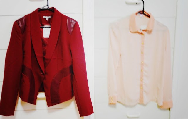 red, blazer, leather detail, red leather, coral blouse, SES