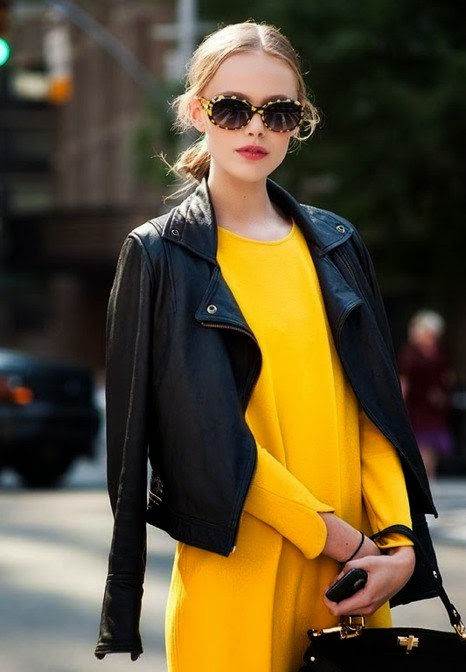 Yellow Long Shirt And Black Leather Jacket