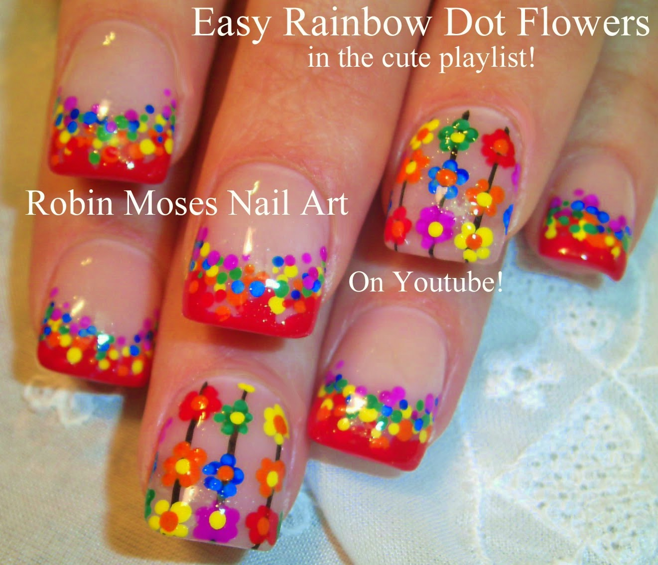 Nail Art By Robin Moses Easy Flower Nails Nail Art Flower Nail