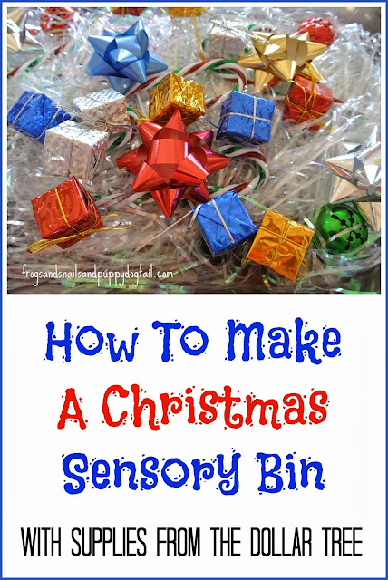 Christmas Sensory Bin-easy diy from the dollar tree
